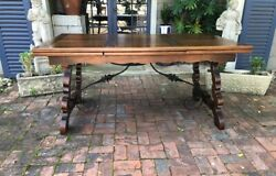 Antique French Provence Inlaid Dining Table Walnut Legs + Iron Stretcher Walnut
