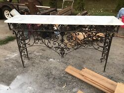 Gothic Wrought Iron And Marble Console Table Hall Art Nouveau 1890s