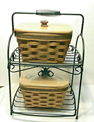 Longaberger Wrought Iron 2 Tier Stand 2 Act Large Berry Basket Protector Lid New