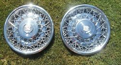 1975-85 Cadillac Deville Fleetwood Seville Pair Oem Wire Wheel Covers Hub Caps