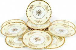 Antique Minton English Chinaandnbsp Set Of 12 Plate Ecru Band W/gold For 10.5
