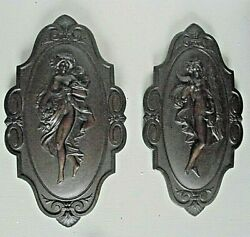 A Pair Of Beautiful Art Nouveau Wall Plaques Possibly French