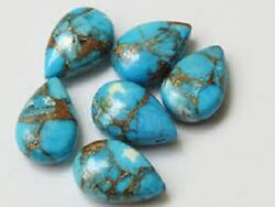 Natural Blue Copper Turquoise Pear Cabochon Loose Gemstone 12x16mm To 18x25mm