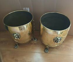 Vintage Pair Of Brass Planter Or Coal Bucket With 3 Paw Feet Lion Head Handles