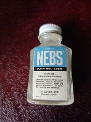 Vintage Nebs Pain Reliever Glass Medical Bottle 1/2 Full- Norwich, Ny