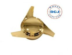 Single Left 3 Bar Smooth Gold Knock-off Spinner Cap For Lowrider Wire Wheels