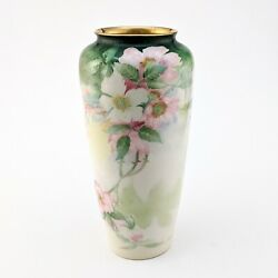 Lenox China Cac American Belleek Vintage 10 Cylindrical Vase Hand Painted Roses
