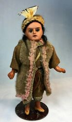 Antique Bisque Head Composition Body Native American Indian Doll 8