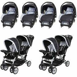 Baby Double Strollers With 4 Infant Car Seats 2 Newborn Carriage Combo Set New