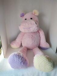 This amp; That Pink Yellow Lavender Pastel Plush Large Giant Stuffed Hippo 31quot;