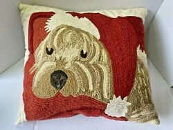 Pottery Barn New Shih Tzu With Santa Hat Pillow Christmas Crewel/embroidery 17