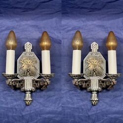 Wired Pair Antique Heavy Two Arm Art Wall Sconces Fixtures Original Finish 33f