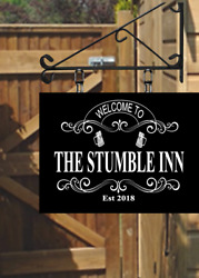 Custom Ornate Hanging Swinging Pub Sign Your Own Picture For Home Bar