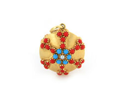 Vintage Turquoise Coral And Pearl Charm Pendant In 18k