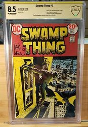 Swamp Thing 7 Cbcs 8.5 Signed Wrightson And Wein 1st Meeting W/ Batman 1973 Cgc