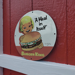 Vintage 1964 Burger King Fast Food And039a Meal In Itselfand039 Porcelain Gas And Oil Sign