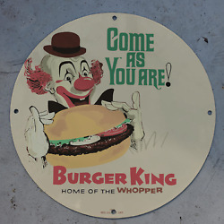 Vintage 1953 Burger King And039and039home Of The Whopperand039and039 Porcelain Gas And Oil Pump Sign