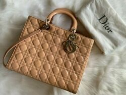 Christian Dior Cannage Quilted Nude Beige Patent Leather Large Lady Dior Bag