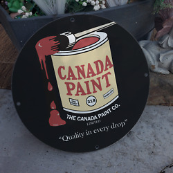 Vintage Canada Paint Co. ''quality In Every Drop'' Porcelain Gas And Oil Sign