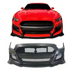 Fits 18-21 Ford Mustang Gt500 Shelby Front Bumper Conversion Kit W/ Grill + Logo
