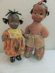 Lot 2 Vintage African American Ethnic Black Dolls - Composition And Cloth
