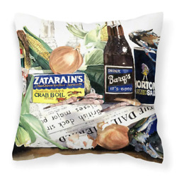 14 In. X 14 In. Multi-color Lumbar Outdoor Throw Pillow Barqs Crabs And Spices D