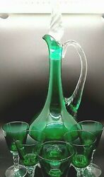 Vintage Emerald Glass Decanter Applied Clear Handle And Base, Stopper And 5 Cordial