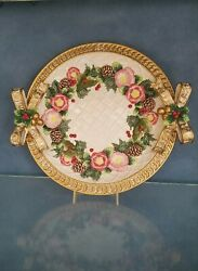 Fitz And Floyd Christmas Wreath Gold Round Platter 13 New In Box