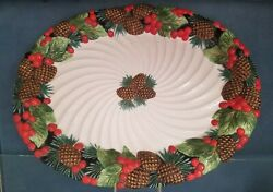 Fitz And Floyd Holiday Pine Platter New In Box