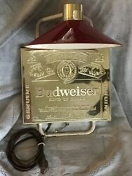 Vintage Budweiser Bar Table Light Gold With Red Shade Nice Working Original 1980