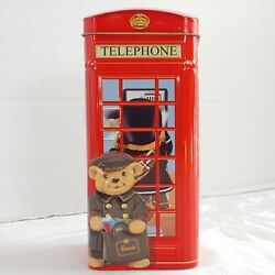 Churchill's Harrods Red English Telephone Booth W/ Bears Bank Tin 4 Sided View