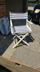Vintage Retro Folding Blue And White Striped Directors Chair