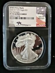 2020 W 1 Silver Eagle Wwii V75 Privy Ngc Pf70 Ucam First Release Mercanti