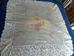 ANT VTG FRENCH SILK EMBROIDERED SOUVENIER TABLECLOTH LACE APPLIQUE FLOWER BASKET