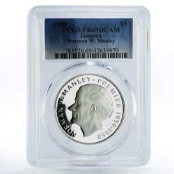 Jamaica 5 Dollars N.w. Manley - Independence Pr69 Pcgs Proof Silver Coin 1988