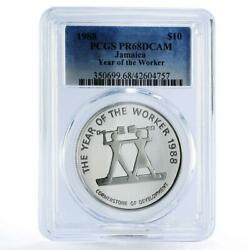 Jamaica 10 Dollars Year Of The Worker Pr68 Pcgs Silver Coin 1988