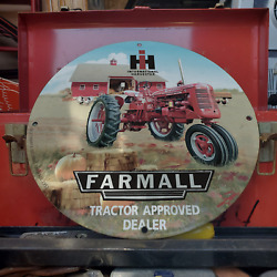 Vintage 1953 Farmall Tractor Approved Dealer Porcelain Gas And Oil Pump Sign