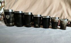 Antique Horn Silver Travelling Picnic Beakers Victorian Shooting Drinking Cups
