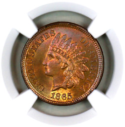 1865 Ms65 Rb Ngc Indian Head Penny Premium Quality Superb Eye Appeal
