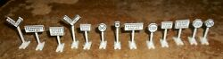 13-lot Lionel 309 Measure 1.5 To 2 Tall Plastic Assorted Road Signs New