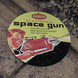 Vintage Remco Electronic Atomic Space Toy Gun Porcelain Gas And Oil Pump Sign