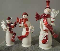 Vintage 3 Piece Set Snowman Nfinity Christmas Ceramic Holiday Collection