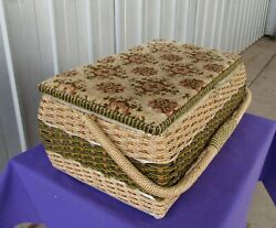 Sewing Basket Woven Wicker Tapestry Cushion Top Swing Handle Large Vintage