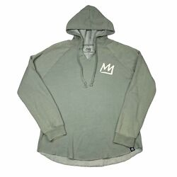 Mammoth California Wave Wash Graphic Hooded Pullover Sage Green Womens L Large