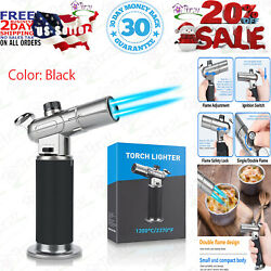 Watsabro Kitchen Blow Torch, Culinary Butane Lighters Refillable Double Fire For