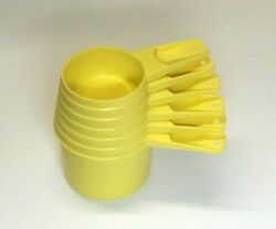 Vintage Set Of 6 Pc Tupperware Measuring Cups Yellow 1/4 - 1 Cup 761 - 766 -4