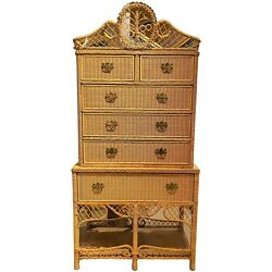 Safari Wicker Two Part Highboy Or High Chest
