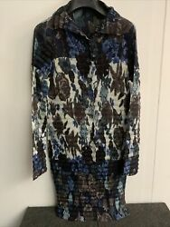 Vintage Issue Miyake Womens Poly Floral Multicoloured Print Button Up Dress M