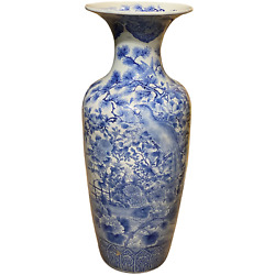 19th/20thc Japanese Blue And White Porcelain Large Floor Vase With Birds And Flowers