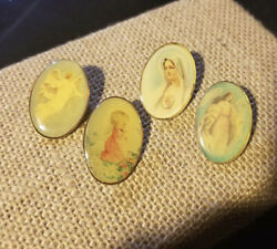 4 Vintage Guardian Angel 1 Oval Pins Religious Colorful Enamel Brooch Lapel Pin